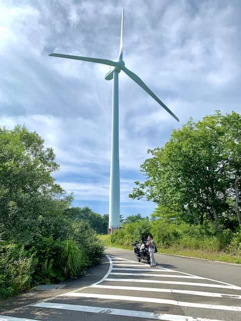 Japan motorcycle tours ninjatours kawamata aizu onsen windmill by road