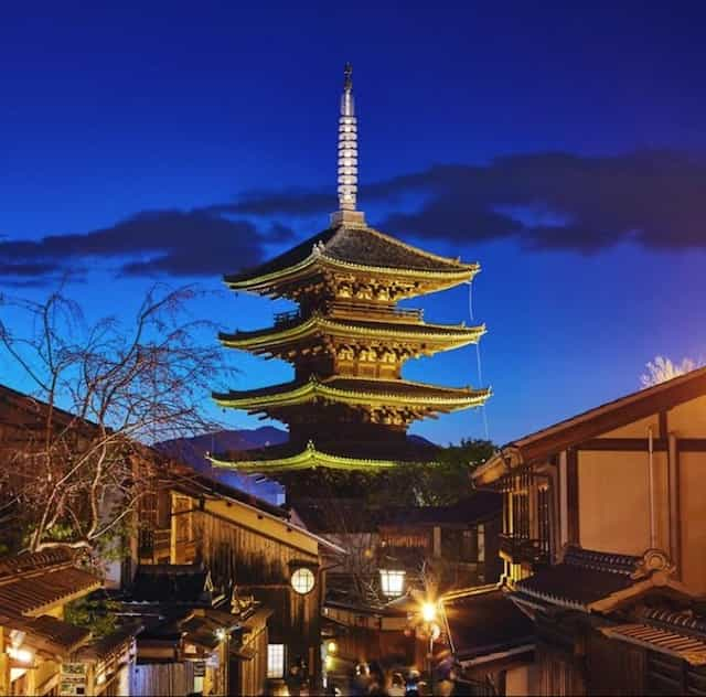 Japan motorcycle tour ninjatours toba kyoto evening pagoda view