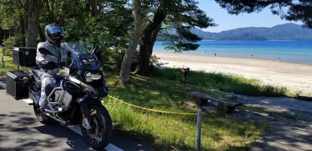 Ninjatours Japan motorcycle tour Hachimantai forest ride beach side road on BMW RS1200